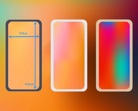 Mesh, multicolor phone backgrounds kit. Cool separated groups, easy to edit. Funny backdrop. Plain screen design set, isolated background. 2436x1125 ratio.