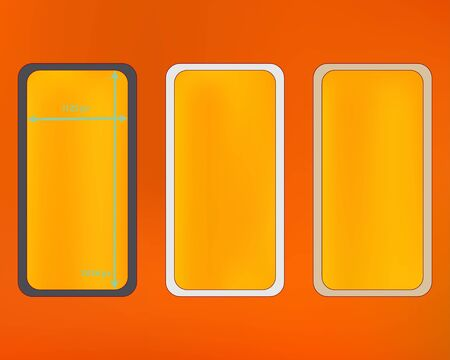 Mesh, orange red colored phone backgrounds kit. Clean separated groups, easy to edit. Liquid backdrop. Common screen design set, isolated background. 2436x1125 ratio.