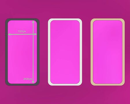 Mesh, magenta colored phone backgrounds kit. Professional screen design set, isolated background. Plain backdrop. Recent separated groups, easy to edit. 2436x1125 ratio.
