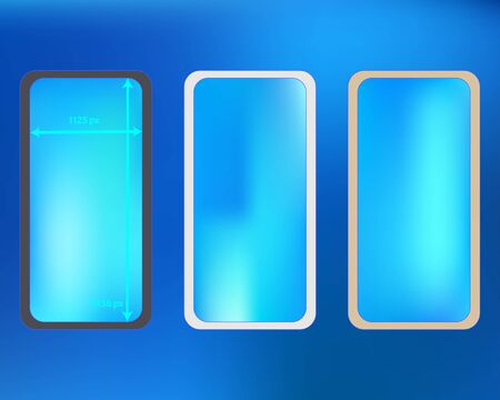 Mesh, azure colored phone backgrounds kit. Elementary screen design set, isolated background. New separated groups, easy to edit. Useful backdrop. 2436x1125 ratio.