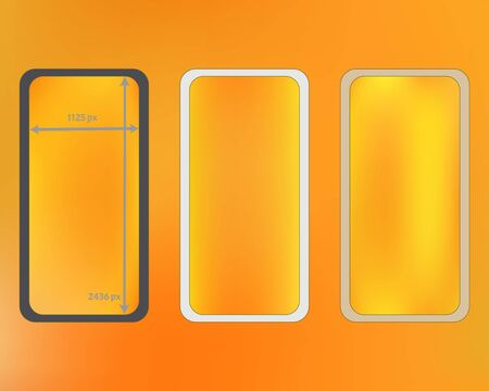 Mesh, yellow colored phone backgrounds kit. Clean separated groups, easy to edit. Funny screen design set, isolated background. Liquid backdrop. 2436x1125 ratio.