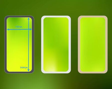 Mesh, green colored phone backgrounds kit. Professional backdrop. Common screen design set, isolated background. Fresh separated groups, easy to edit. 2436x1125 ratio.