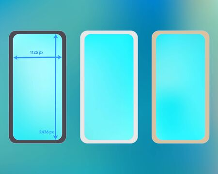 Mesh, cyan colored phone backgrounds kit. Creative backdrop. Breezy separated groups, easy to edit. Useful screen design set, isolated background. 2436x1125 ratio.