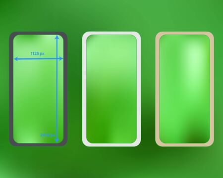 Mesh, lime colored phone backgrounds kit. Pristine separated groups, easy to edit. Useful screen design set, isolated background. Professional backdrop. 2436x1125 ratio. Иллюстрация