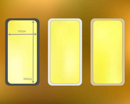 Mesh, gold colored phone backgrounds kit. Net separated groups, easy to edit. Creative backdrop. Funny screen design set, isolated background. 2436x1125 ratio. Иллюстрация