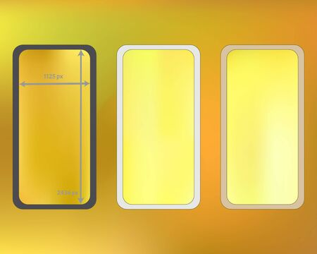 Mesh, gold colored phone backgrounds kit. Recent separated groups, easy to edit. Liquid screen design set, isolated background. Funny backdrop. 2436x1125 ratio.