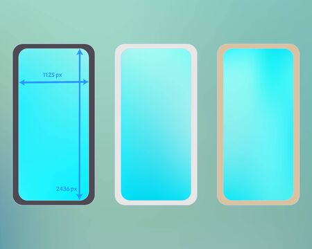 Mesh, cyan colored phone backgrounds kit. Cool separated groups, easy to edit. Useful backdrop. Elementary screen design set, isolated background. 2436x1125 ratio.