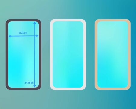 Mesh, cyan colored phone backgrounds kit. Pristine separated groups, easy to edit. Common screen design set, isolated background. Professional backdrop. 2436x1125 ratio.