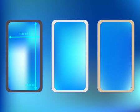 Mesh, azure colored phone backgrounds kit. Funny screen design set, isolated background. Liquid backdrop. Cool separated groups, easy to edit. 2436x1125 ratio.