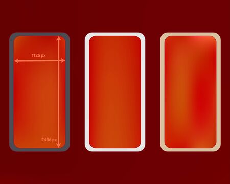 Mesh, red colored phone backgrounds kit. Net separated groups, easy to edit. Creative screen design set, isolated background. Liquid backdrop. 2436x1125 ratio. Иллюстрация