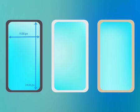Mesh, cyan colored phone backgrounds kit. Liquid backdrop. Common screen design set, isolated background. Pure separated groups, easy to edit. 2436x1125 ratio. Иллюстрация
