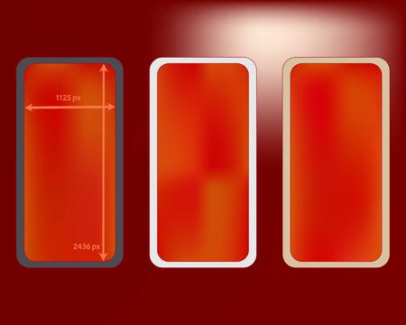 Mesh, red colored phone backgrounds kit. Minimal backdrop. Crisp separated groups, easy to edit. Usefull screen design set, isolated background. 2436x1125 ratio.