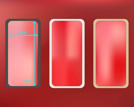 Mesh, coral colored phone backgrounds kit. Common screen design set, isolated background. Pure separated groups, easy to edit. Elementary backdrop. 2436x1125 ratio.