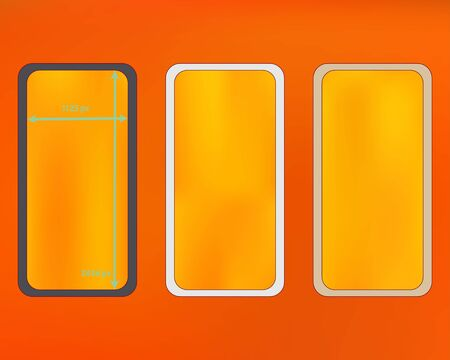 Mesh, orange red colored phone backgrounds kit. Funny screen design set, isolated background. Breezy separated groups, easy to edit. Ordinary backdrop. 2436x1125 ratio.