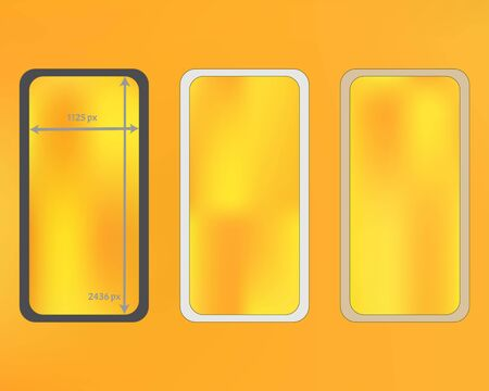 Mesh, yellow colored phone backgrounds kit. Liquid backdrop. Clean separated groups, easy to edit. Plain screen design set, isolated background. 2436x1125 ratio.