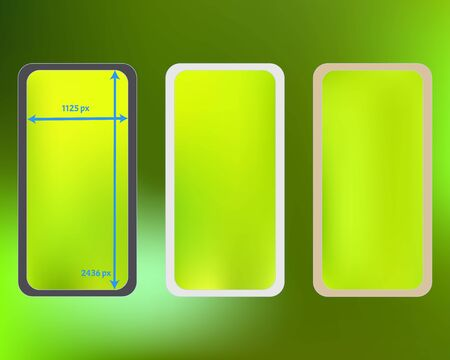 Mesh, green colored phone backgrounds kit. Liquid backdrop. Pristine separated groups, easy to edit. Elementary screen design set, isolated background. 2436x1125 ratio.