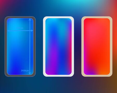 Mesh, multicolor phone backgrounds kit. Clean separated groups, easy to edit. Elementary screen design set, isolated background. Common backdrop. 2436x1125 ratio. Иллюстрация