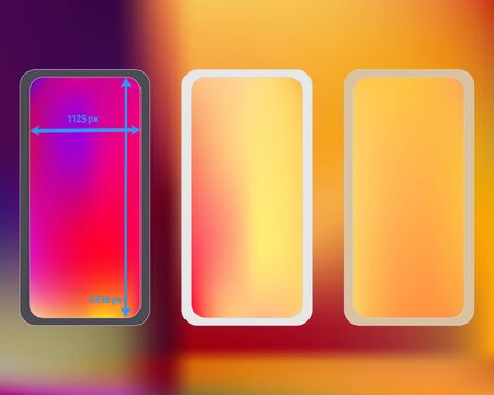 Mesh, multicolor phone backgrounds kit. Creative backdrop. Funny screen design set, isolated background. Cool separated groups, easy to edit. 2436x1125 ratio.
