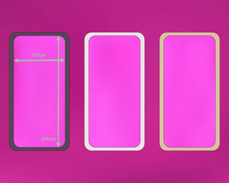 Mesh, magenta colored phone backgrounds kit. Minimal screen design set, isolated background. Pristine separated groups, easy to edit. Elementary backdrop. 2436x1125 ratio.  イラスト・ベクター素材