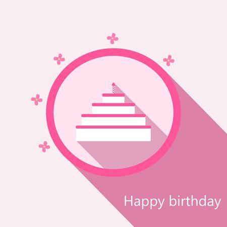 Happy birthday card pink cake