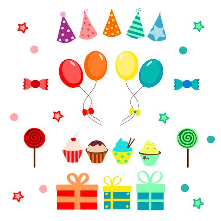 globo: Parte establezca con globos, sombrero, dulces y cupcakes Vectores
