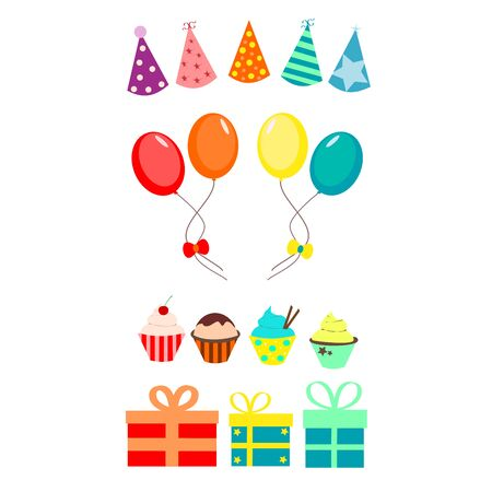free illustration: Party set with balloons and cupcakes