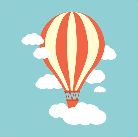 vintage pin up: Hot air balloon with clouds