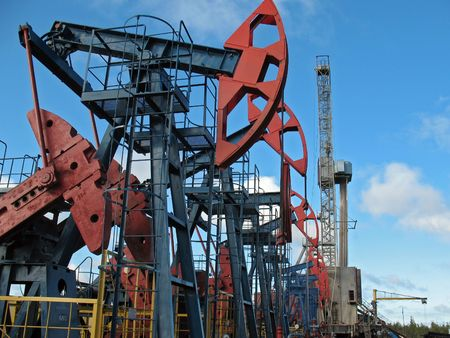 siberia: Oil extraction in west Siberia. Stock Photo