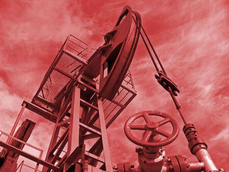 Oil pump in work. Siberia. Stock Photo