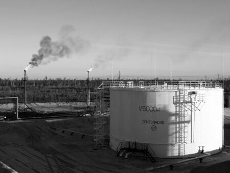 pipework: Oil storage in west Siberia. Stock Photo