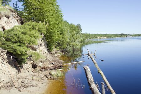 Flooded river. Spring in West Siberia photo
