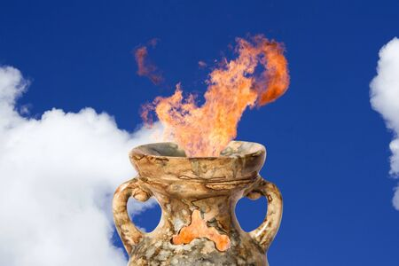 Flaring magic antique amphora . Sorcery from a fairy tale photo