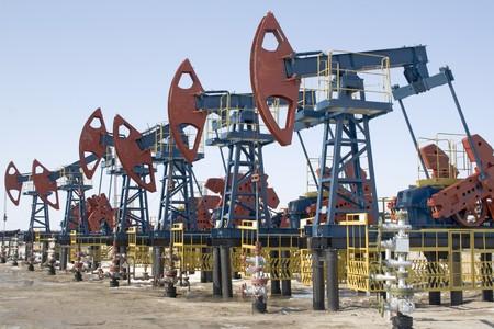 Oil pumps in West Siberia. Oil industry equipment.