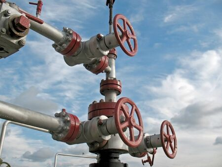 Olie klink op een pijpleiding.