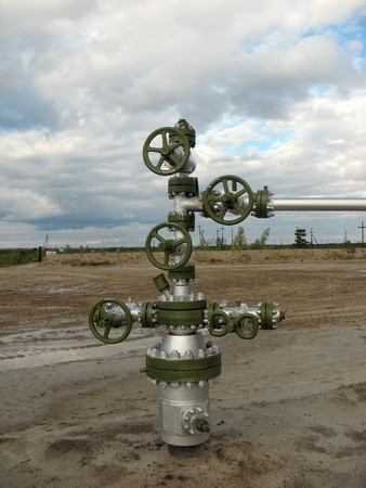 Oil well in wes Siberia. Stock Photo