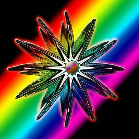 rainbow slide: Falling star on a rainbow. Stock Photo