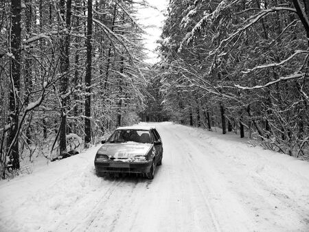 Trouble in the wild forest . Broken car Stock Photo - 4045297