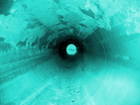 Rust tne underground tonnel. Pipeline. Stock Photo