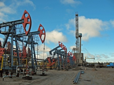 Drilling in West Siberia. Oil. Stock Photo