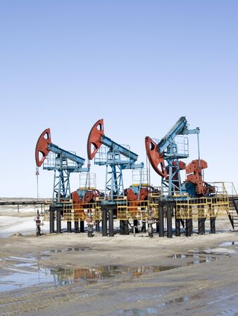 Oil pumps in West Siberia. Oil industry equipment Stock Photo