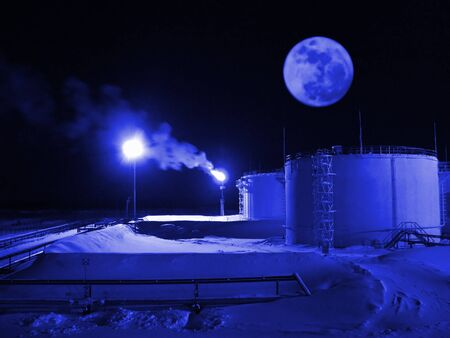 Oil refinery station. Night landscape. Beautiful moon Stock Photo