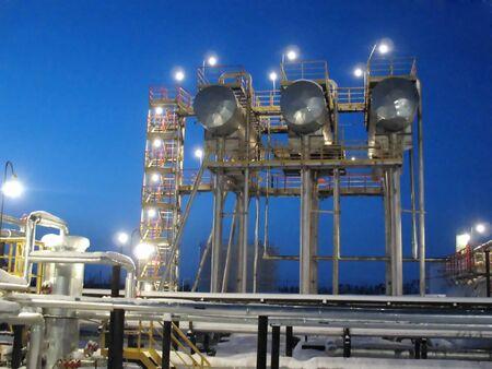 Werkzaamheden van het centrum van de olie raffinaderij in West-Siberië