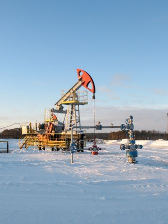 Oil extraction. Oil industry. Construction and mechanism in work.  Stock Photo
