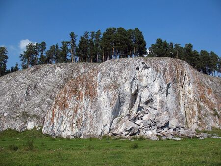 rock bottom: Mountain cliff in Urals mountains.