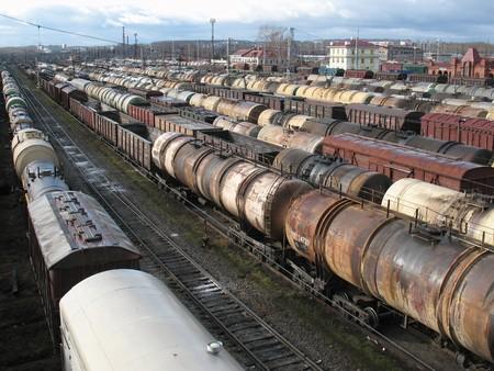 Rail cars on a big railway station. Loading. Stock Photo - 7806934