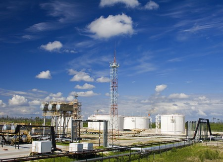 Oil refinery plant. Petrochemical industry Stock Photo