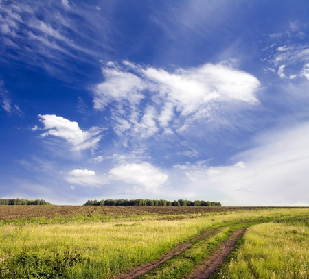 Beautiful summer landscape. Blue sky with white clouds above rural lane photo