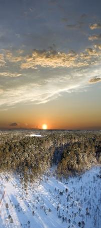 Beautiful colorful sunset in wild Siberian taiga photo