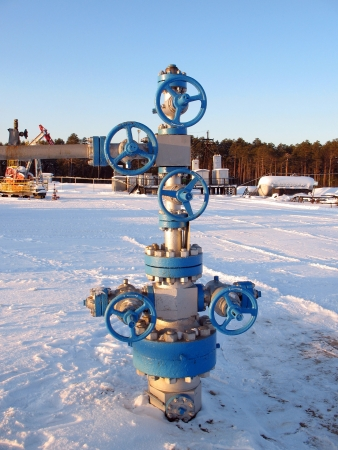 Oil and gas industry. Work of oil electric pump on a oil field. Extraction of oil. Oil industry of West Siberia  photo