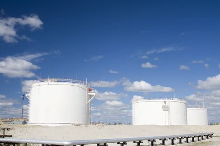 il industry and gas industry. Work of refinery petrochemical plant. Oil reservoir and storage tank of mineral oil  photo